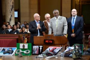 09-27-2016, Councimembers celebrate Stan Lee Day in Los Angeles City Hall.CM Curren Price Jr. and CM Mike Bonin recognize Stan Lee in John Ferraro Council Chamber pronouncing September 27, 2016, as Stan Lee Day.   Stan Lee  is an American comic-book writer, editor, publisher, media producer, television host, actor and former president and chairman of Marvel Comics. In collaboration with several artists, including Jack Kirby and Steve Ditko, he created Spider-Man, the Hulk, the Fantastic Four, Iron Man, Daredevil, Thor, the X-Men, and many other fictional characters, introducing a thoroughly shared universe into superhero comic books. He will be bringing Comic-Con to Los Angeles.  It will be known as the Stan Lee Los Angeles Comic Con. L-R: Franco Viteri, Manny Giron