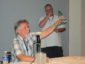 Mark McKenna receiving the Joe Sinnott Hall of Fame Award in 2012 (with Presenter Marc Deering)